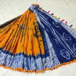 Cotton Mulmul Printed Pom Pom Saree