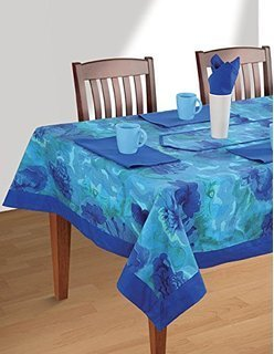 Blue Print Table Cover, Size: 100 x 100 cm