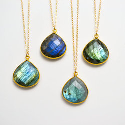 Labradorite Bezel Set Gemstone Necklace