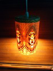 Cylindrical Hanging Wooden Lamp