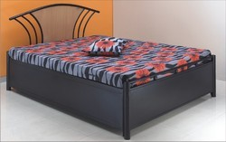 Cherry Wood Brown Metal Bed, For Hotel, Size: Standard