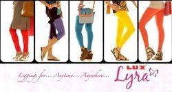 Blue Mid Waist Lux Lyra Plain Ankle Length Leggings, Casual Wear, Slim Fit