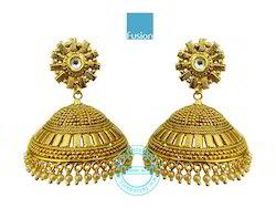 Traditional Kundan Antique Jhumka Earrings