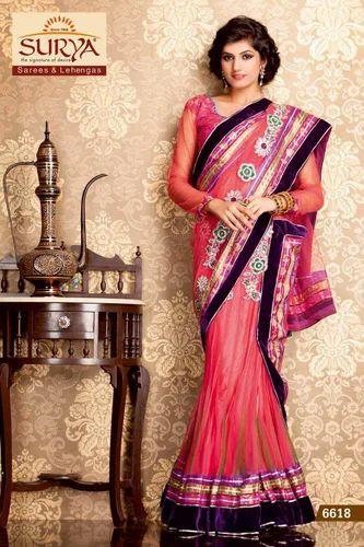 c965d456a0 Zardozi Work Designer Lehenga Sarees, Rs 4792 /piece, Surya Silks ...