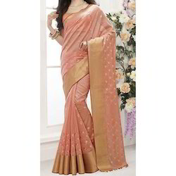 Cot Silk Embroidery Saree with Blouse Piece, Length: 6.3 m