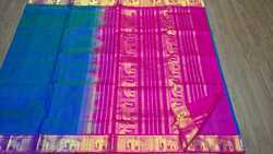 Blue and Pink Silk Cotton Saree