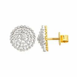 Sonir Party Wear Glittering Circle Diamond Studs Earring, Size: 12