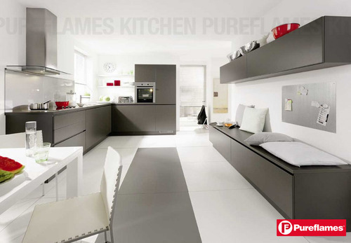 Beau Gray Colour Modular Kitchen