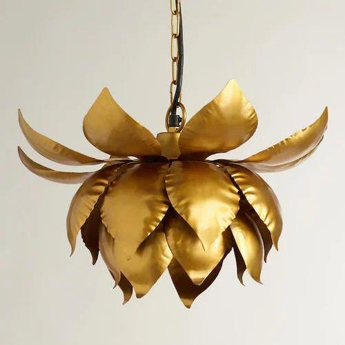 Gold lotus hanging pendant lamp ks international moradabad gold lotus hanging pendant lamp mozeypictures Image collections