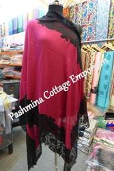 Casual Wear Silk Pashmina Plain Lace Stole