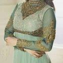 Prachi Desai Styled Pista Gorgette Long Anarkali Suit
