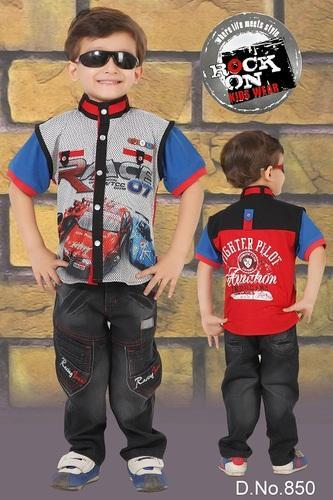 Rock On Half Sleeves Summer Wear Kids Suit