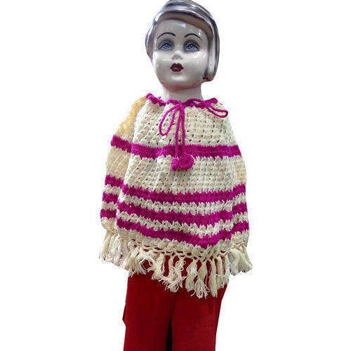 2 To 4 Years Cream And Pink Kids Crochet Poncho Rs 500 Piece Id