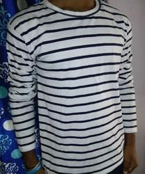 Stripes White With Blue Line T Shirt, Size: XL