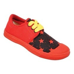 Kayvee Footwear Red + Black + Yellow Smart Red Kid Canvas Shoes