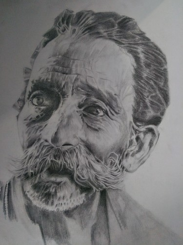 Black and white pencil portrait drawings size a2