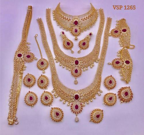 Gold Polish Brass Indian Bridal Jewelry Sets Rs 12000 Set Id