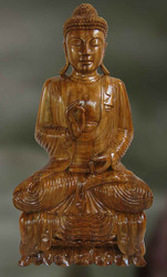 Buddha Intricately Carved Wood Sculpture