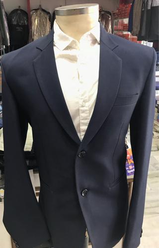 2-Piece Suit Navy Blue Matte Men Suits