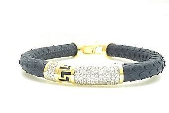 Leather Gold And Diamond Men Bracelet