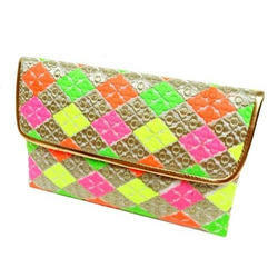 Handmade Neon Embroidered Clutch