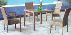 Golden Style Outdoor Wicker Coffee Set