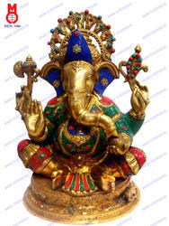Ganesh Sitting On Oval Base Heart Ring Statue