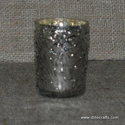 Silver Glass Candle Votive Holders