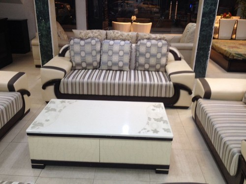 Wood And Genuine Leather Sofa Set Pu Polish