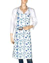 Cotton White Base Hand Block Print Kitchen Use Apron