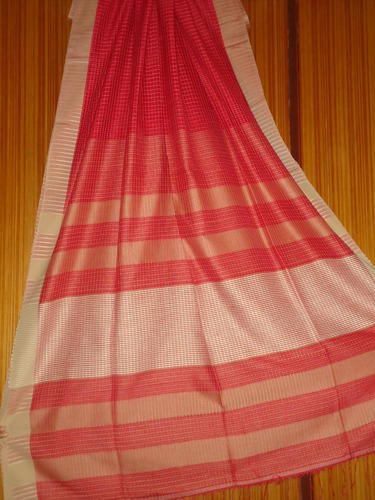Handloom Cotton Saree With Red White Combination