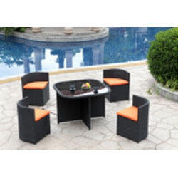 total furnishing Black Dining Table outdoor Set