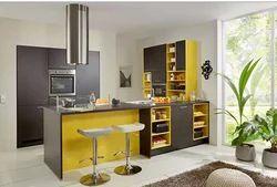 Wooden L Shape Laminated Modular Kitchen