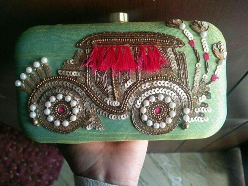 Green Sequence Work Funky Hand Clutch Purse,