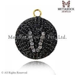 Black and White Diamond Initial Charm Pendant