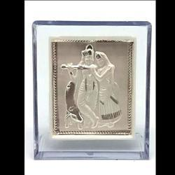 999 Silver Plated Radha Krishna Stand