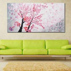 Pink Leaves Tree Modern Decorative Artwork Oil Paintings