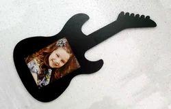 Wood Black Guitar Shaped Photo Frame