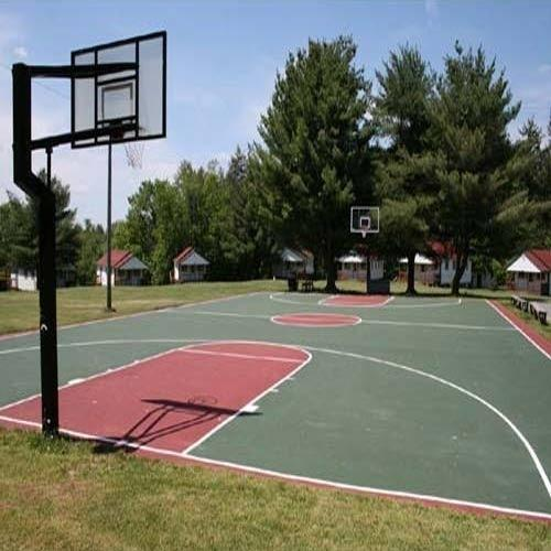 Red And Green Polished Synthetic Basketball Outdoor Court ...