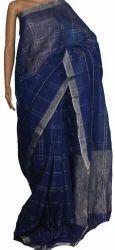 Linen Blue Border Saree, Size: 5.5 meter