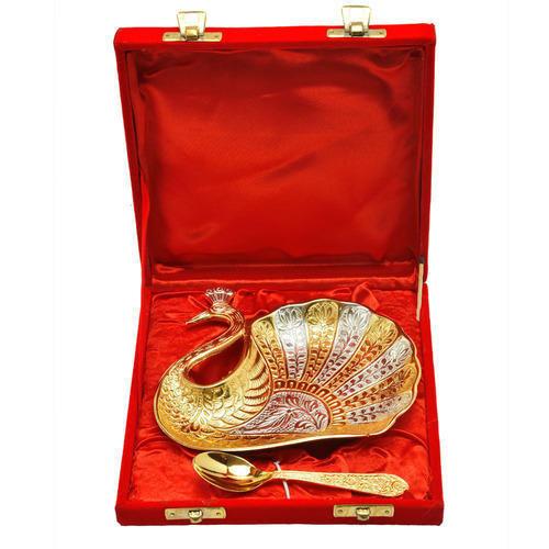 Silver Gold Plated Peacock Shape Brass Bowl Set