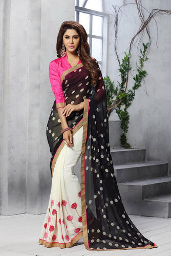 958d0c2838 Shaily White & Black Georgette Printed Saree at Rs 630 /piece(s ...