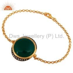 CZ Green Onyx Gemstone Chain Bracelet Jewelry