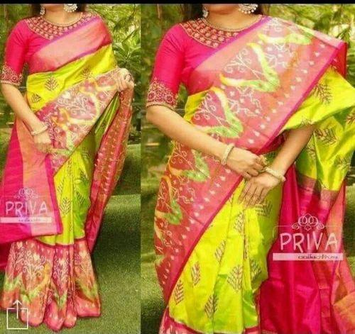 59f03a4770 Pure Silk Yellow Pink Pochampally Ikkat Silk Sarees, Rs 7222 /piece ...