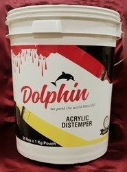 Dolphin Mid Sheen Acrylic Washable Distemper, For Wall, Packaging Type: Bucket