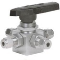 Double Ferrule Tube Ends Four Way Ball Valves