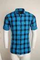 Blue Linen Checked Men Casual Shirt