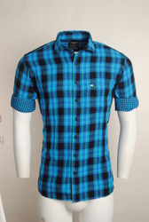 Blue Linen Checked Men Casual Shirt, Size: S, M and L
