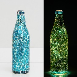 URBAN STITCH Multicolor Handmade Mosaic Glass Bottles Lamps Showpiece