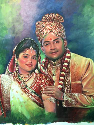 Multi Colored Couple Portrait Painting, Size: 2'X2'